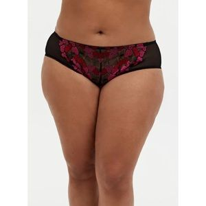 🆕Black Pink Heart Embroidered Hipster Panty 1X 2X